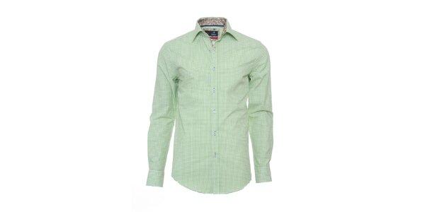 Pánska svetlo zeleno kockovaná košeľa Pontto