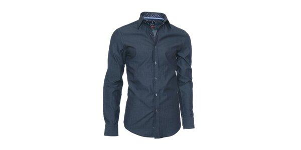 Pánska tmavo modrá košeľa Pontto s drobnými bodkami