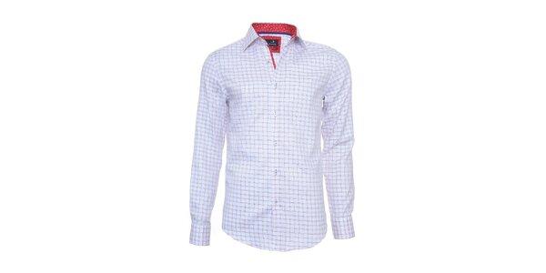 Pánska kockovaná košeľa Pontto s červeno podšitým límcom