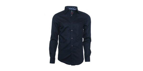 Pánska tmavo modrá košeľa Pontto s dlhým rukávom