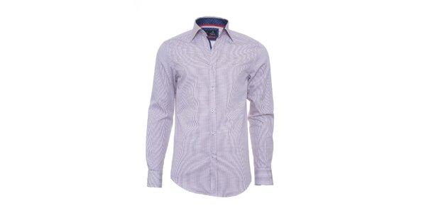 Pánska biela kockovaná košeľa Pontto s dlhým rukávom