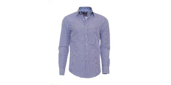 Pánska modro kockovaná košeľa Pontto s dlhým rukávom