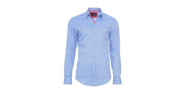 Pánska svetlo modrá košeľa Pontto s červenými detailmi