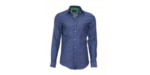 Pánska modrá košeľa Pontto so zelenými detailmi