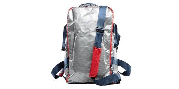 Strieborný cestovný batoh s červenými lemami Tommy Hilfiger