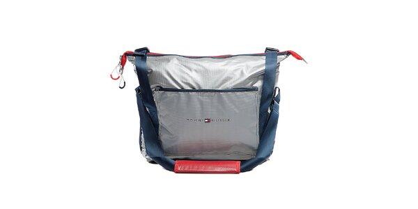 Strieborná cestovná taška cez rameno Tommy Hilfiger