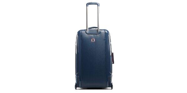 Modrý cestovný kufor na koliečkach Tommy Hilfiger