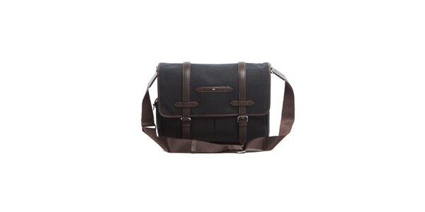 Čierna taška cez rameno s koženými lemami Tommy Hilfiger