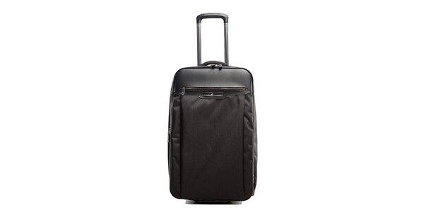 Väčší čierny kufor na koliečkach Tommy Hilfiger s kontrastným vnútrajškom