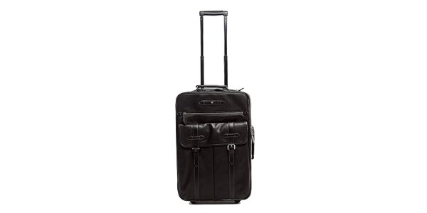 Čierny kožený kufor na koliečkach Tommy Hilfiger