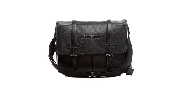 Čierna kožená taška cez rameno Tommy Hilfiger