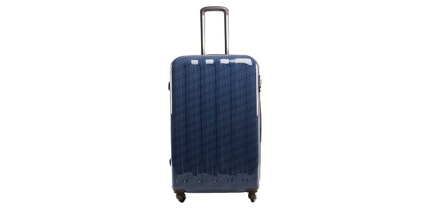 Veľký modrý kufor s červeným vnútrajškom Tommy Hilfiger