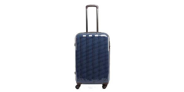 Väčší modrý cestovný kufor s červeným vnútrajškom Tommy Hilfiger
