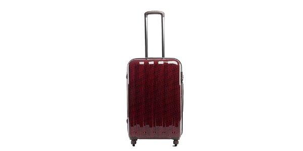 Väčší červený cestovný kufor s šedým vnútrajškom Tommy Hilfiger