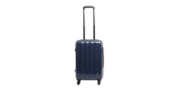Stredný modrý cestovný kufor s červeným vnútrajškom Tommy Hilfiger