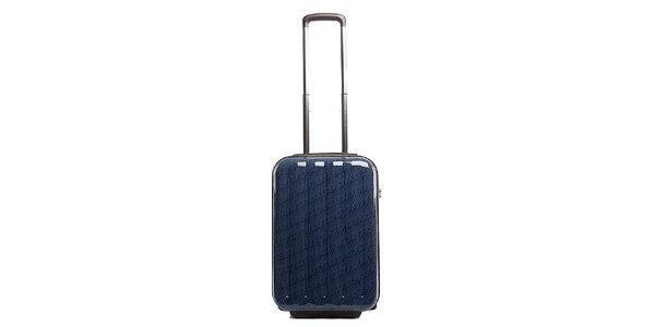 Malý modrý cestovný kufor s červeným vnútrajškom Tommy Hilfiger