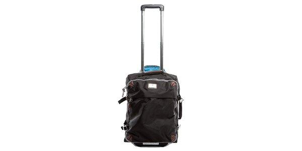 Čierny nylonový cestovný kufor na koliečkach Tommy Hilfiger