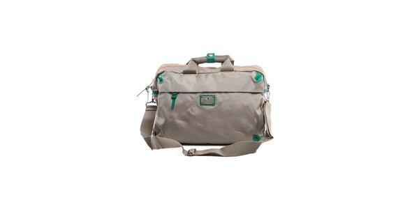 Béžová cestovná taška so zelenými detailmi Tommy Hilfiger
