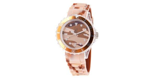 Hnedo-béžové hodinky s army vzorom Senwatch