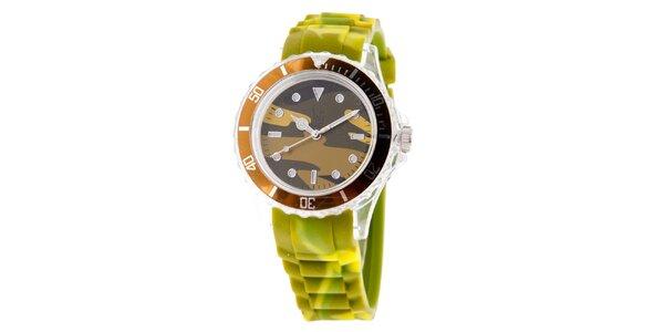 Hnedo-zelené hodinky s army vzorom Senwatch