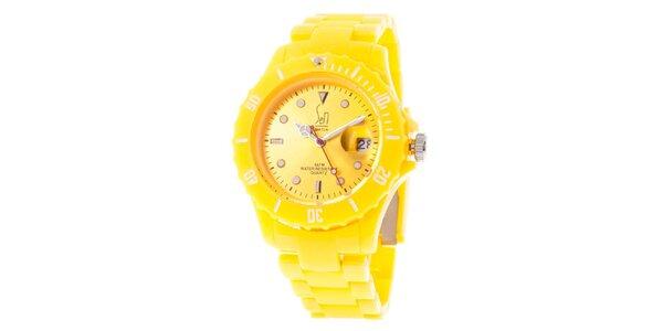 Žlté analogové hodinky s oceľovým púzdrom Senwatch