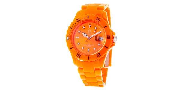 Oranžové analogové hodinky s oceľovým púzdrom Senwatch