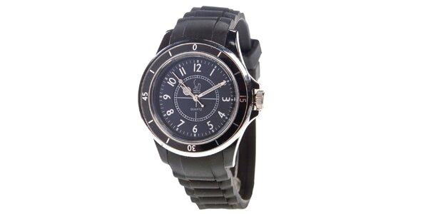 Čierne analogové hodinky s luminiscenčnými ručičkami Senwatch