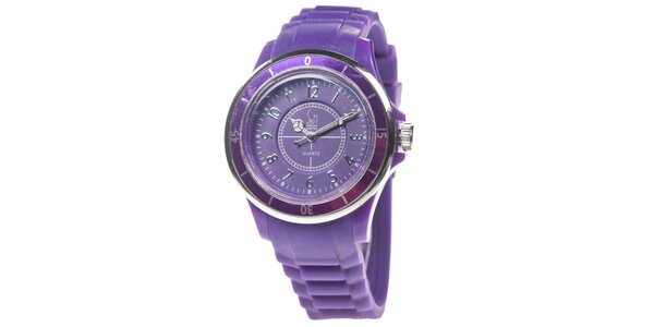 Fialové analogové hodinky s luminiscenčnými ručičkami Senwatch