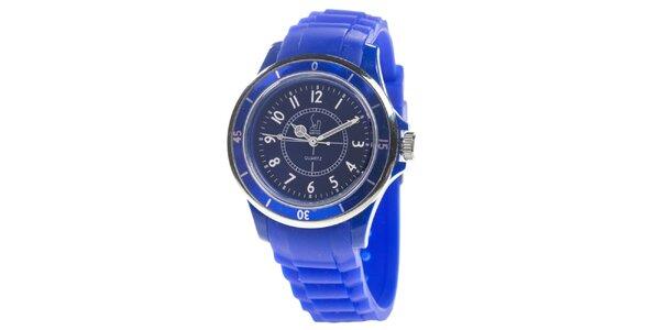 Modré analogové hodinky s luminiscenčnými ručičkami Senwatch