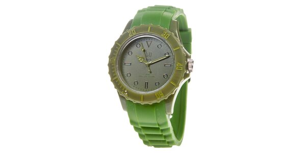 Zelené analogové hodinky s minerálnym sklíčkom Senwatch