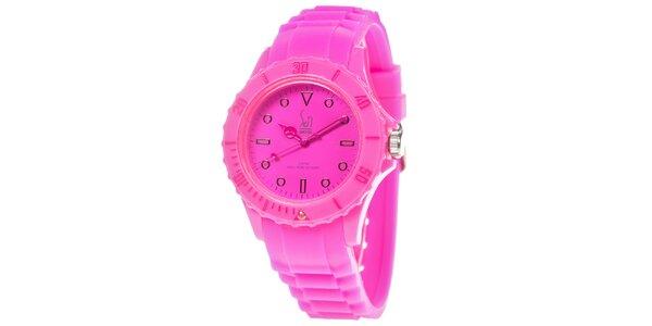 Ružové analogové hodinky s minerálnym sklíčkom Senwatch