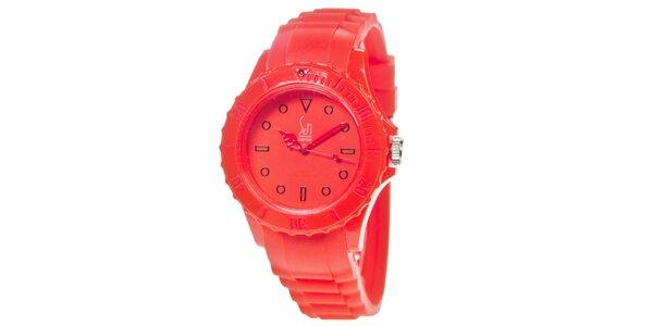 Červené analogové hodinky s minerálnym sklíčkom Senwatch