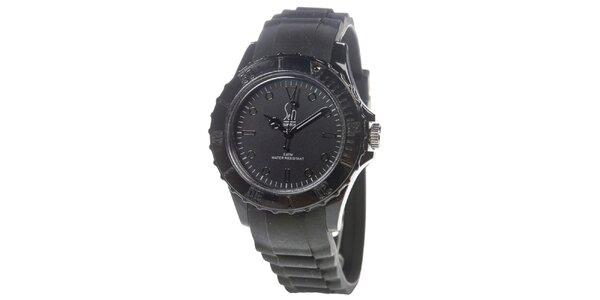Čierne analogové hodinky s minerálnym sklíčkom Senwatch