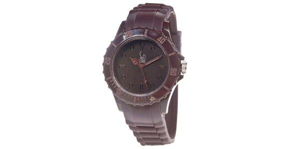 Hnedé analogové hodinky s minerálnym sklíčkom Senwatch