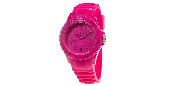 Malinové analogové hodinky s minerálnym sklíčkom Senwatch
