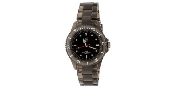 Čierne hodinky s transparentným remienkom Senwatch