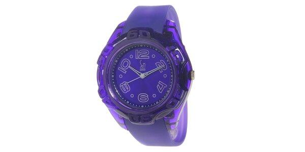 Fialové analogové hodinky s oceľovým púzdrom Senwatch