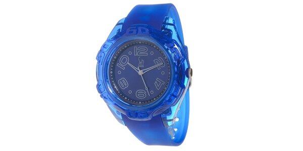 Modré analogové hodinky s oceľovým púzdrom Senwatch