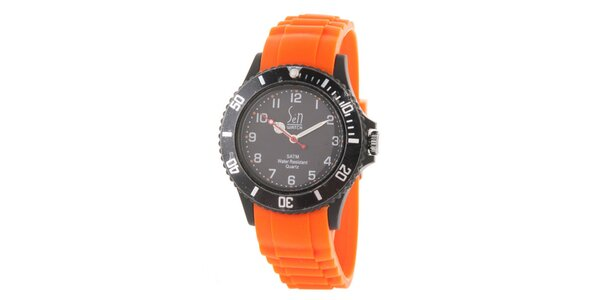 Čierno-oranžové analogové hodinky Senwatch