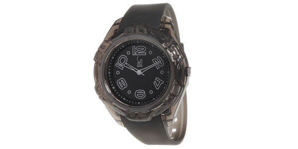 Čierne analogové hodinky s oceľovým púzdrom Senwatch