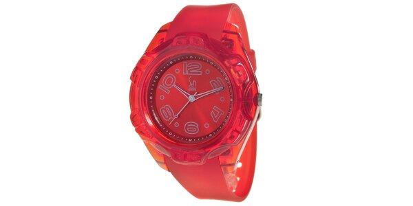 Červené analogové hodinky s oceľovým púzdrom Senwatch