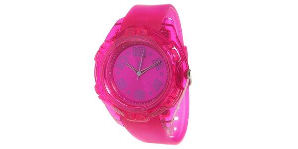 Ružové analogové hodinky s oceľovým púzdrom Senwatch