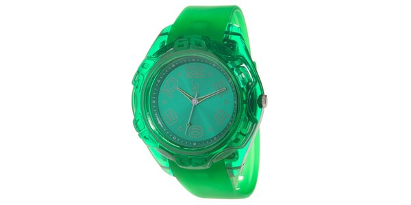 Zelené analogové hodinky s oceľovým púzdrom Senwatch
