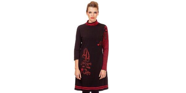 Dámske čierno-červené úpletové šaty s prúžkami Missing Johnny