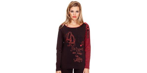 Dámske čierno-červené tričko s potlačou Missing Johnny