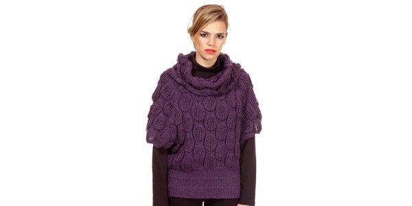 Dámsky fialový sveter s pletenými ozdobami Missing Johnny