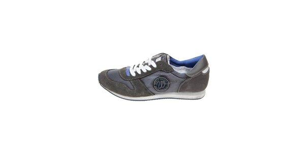 Pánske tmavo šedé tenisky s modrými detailmi Wrangler