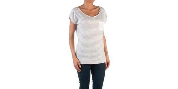 Dámske šedo-biele pruhované tričko Womens Secret
