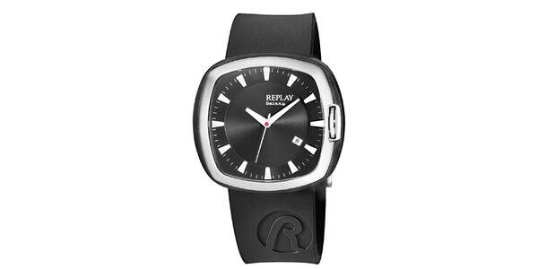 Čierne analogové hodinky Replay s hranatým displejom