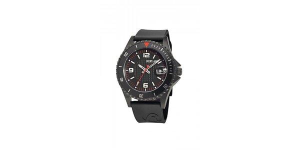 Čierne analogové hodinky Replay s dátumovkou